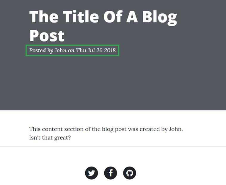 post meta on single blog post page