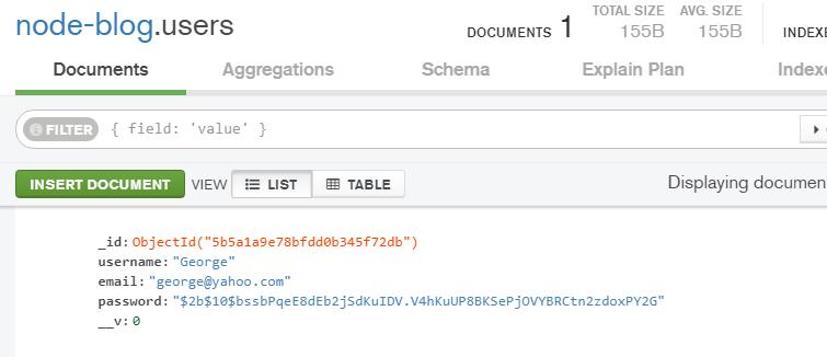 registered user in mongodb