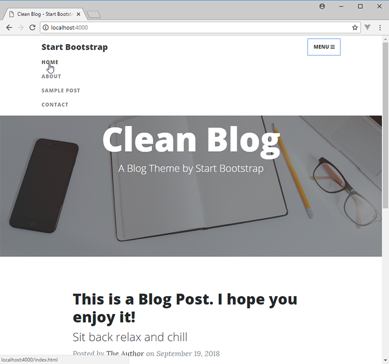 start bootstrap clean blog
