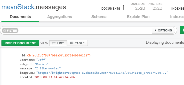 new message in mongodb
