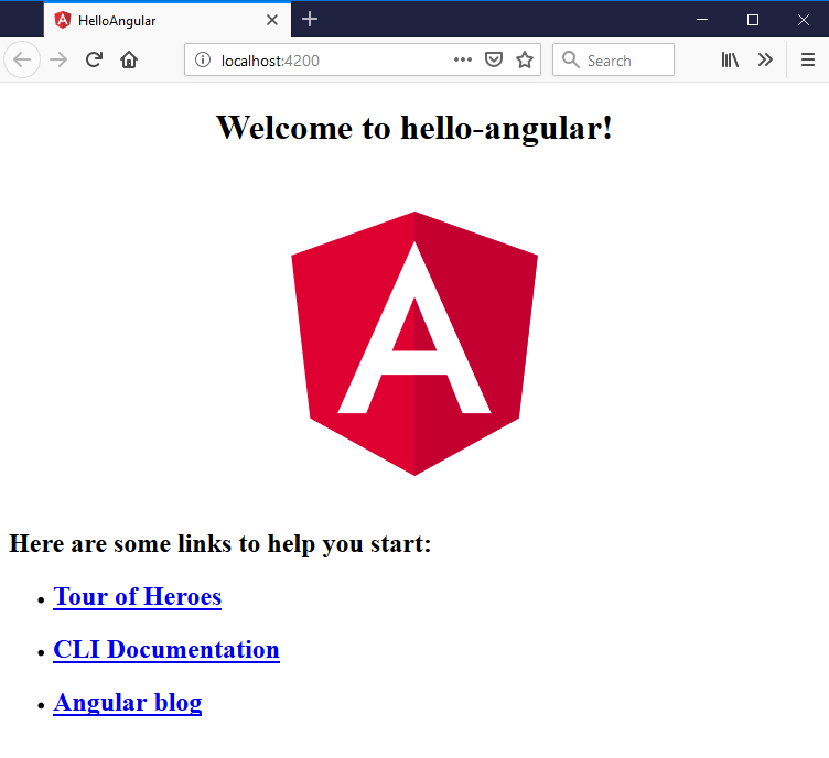 angular cli starter application
