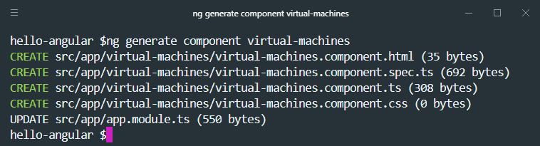 ng generate component cli command