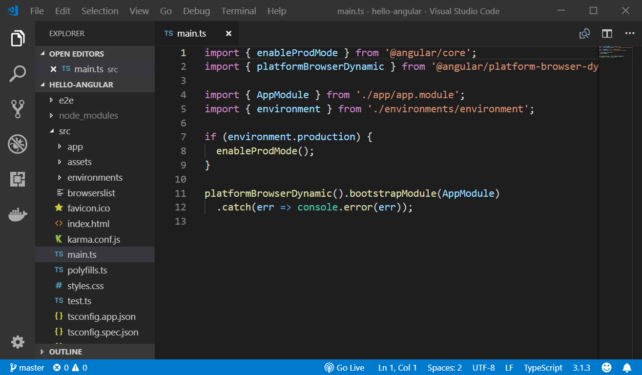 visual studio code angularjs project