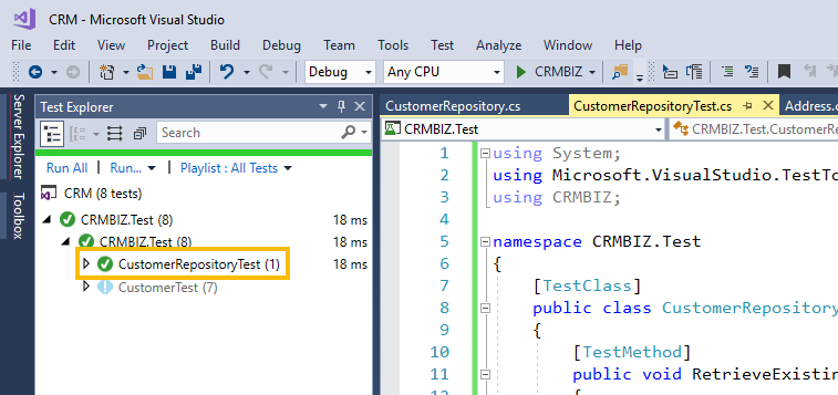 C# repository pattern test