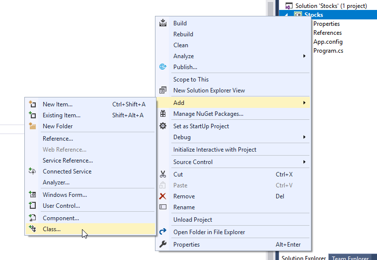 add class to visual studio project
