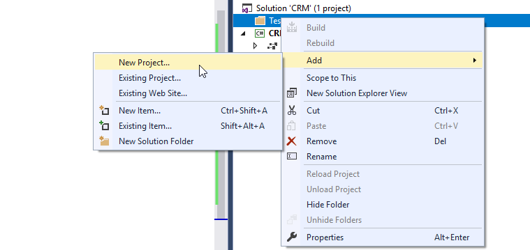 add new project to solution visual studio