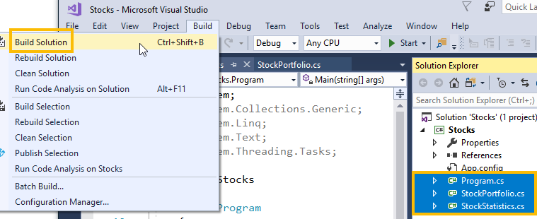 build visual studio files into an assembly