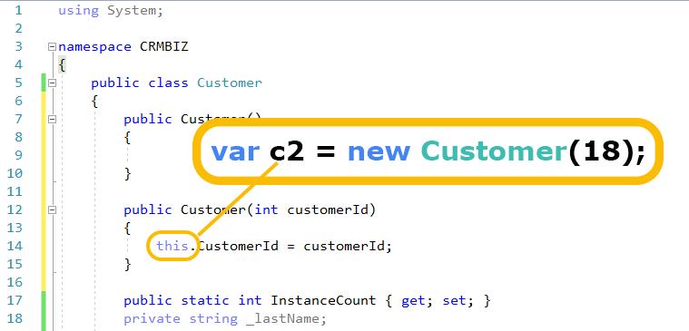 cómo funciona C # esta palabra clave ejemplo