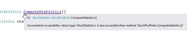 inconsistent accessibility return type stockstatistics is less accessible than method stockportfolio-computestatistics