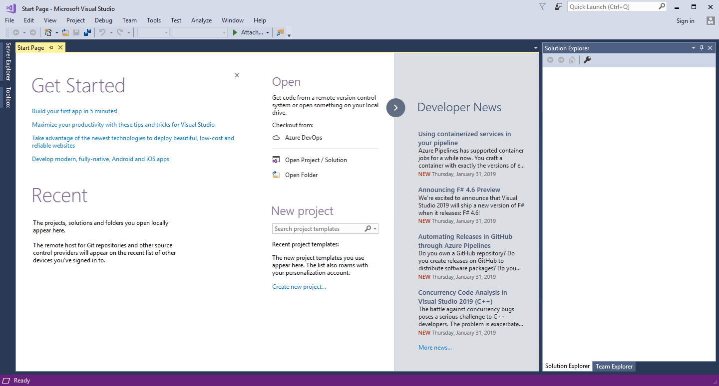 microsoft visual studio community start page