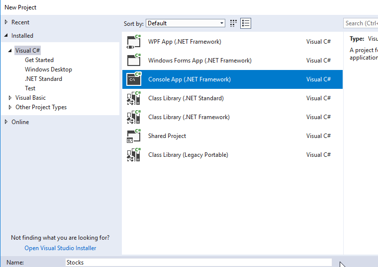 new visual studio console app