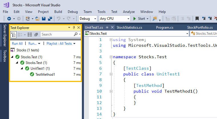 test explorer window visual studio