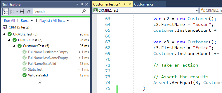 validar el método de prueba C # pasando