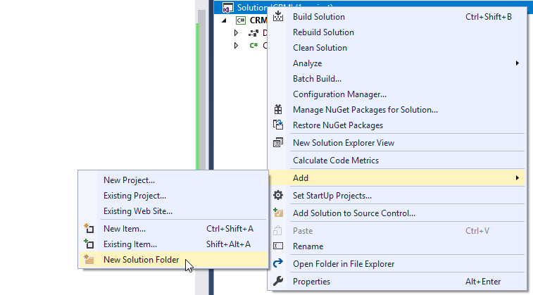 visual studio add new solution folder