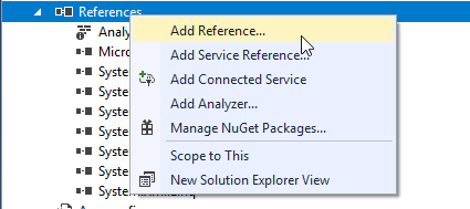 visual studio add reference