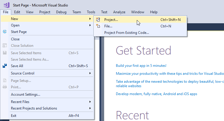 visual studio file new project