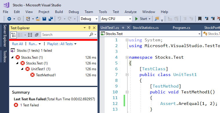 visual studio unit test failing