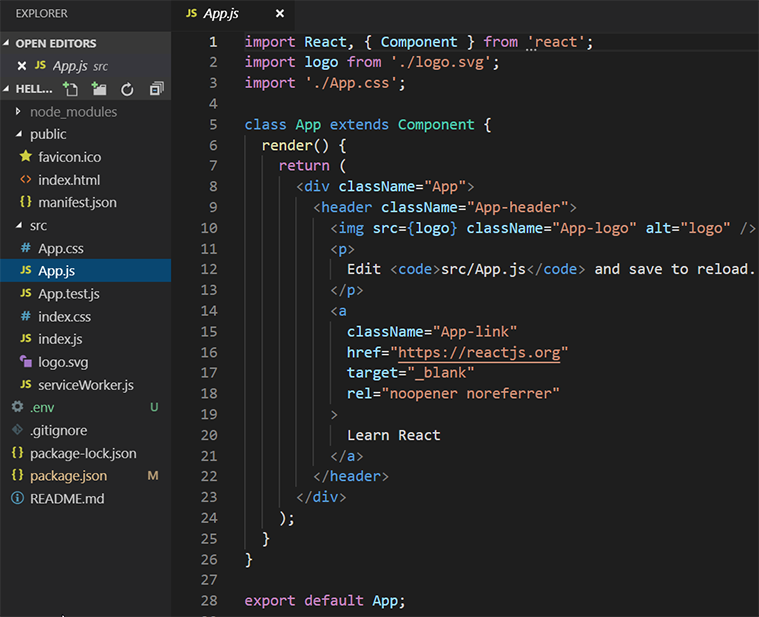 create react app visual studio code