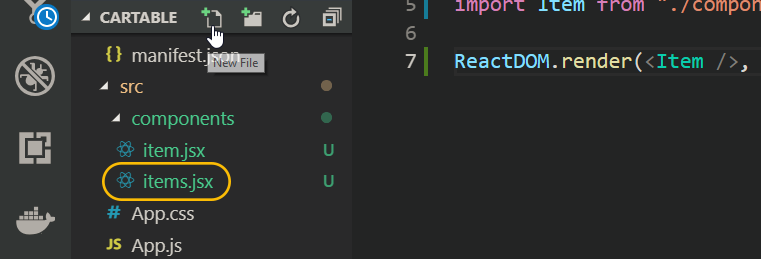 new items-jsx file react