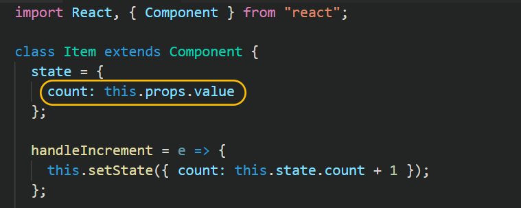 react initialize state using props