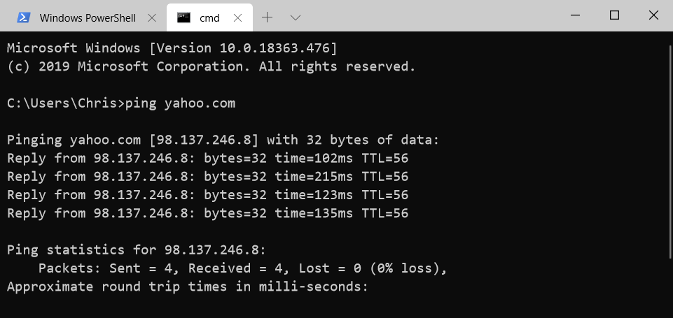 WindowsTerminal multiple tabs example