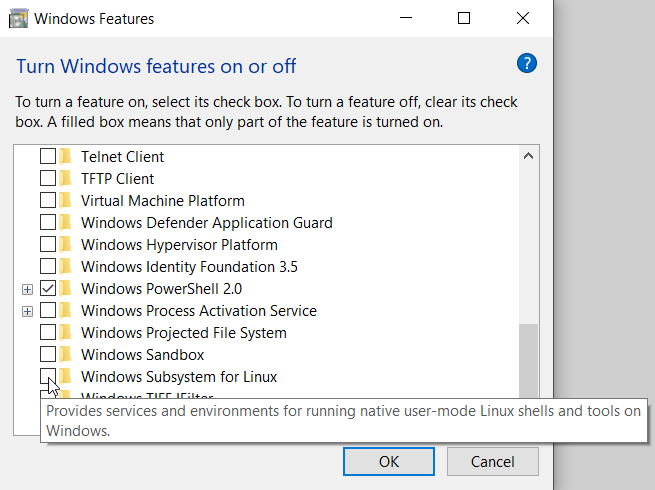 Select checkbox to turn on WSL