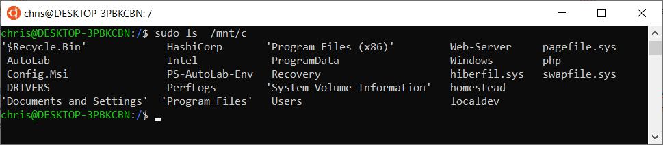 Viewing windows files from WSL