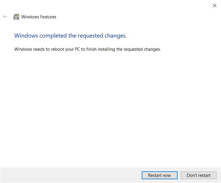 Windows must reboot to finish WSL install