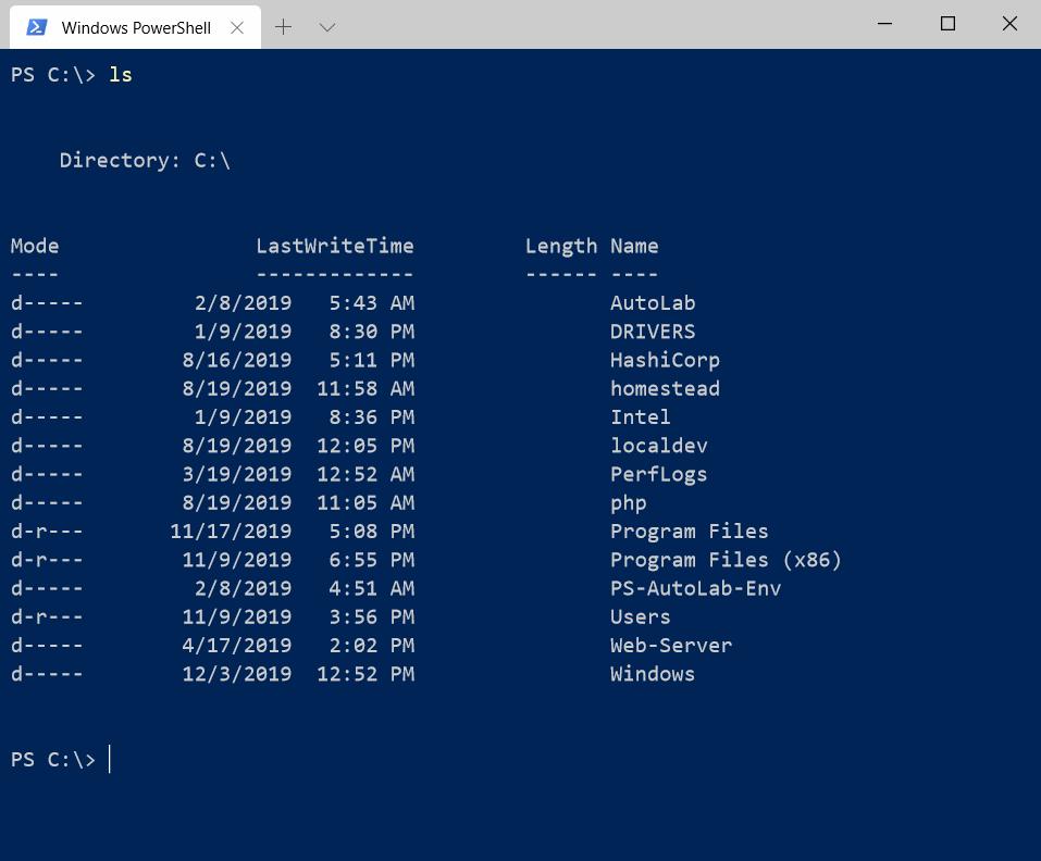 display files in powershell
