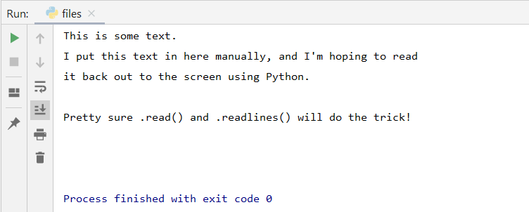 pycharm read file to output