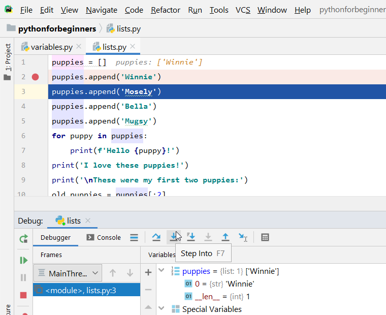 pycharm step into code