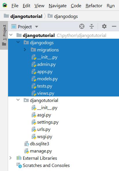 django startapp command result