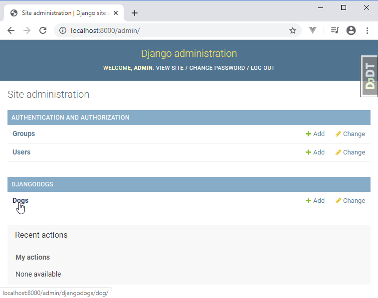Django administration register app