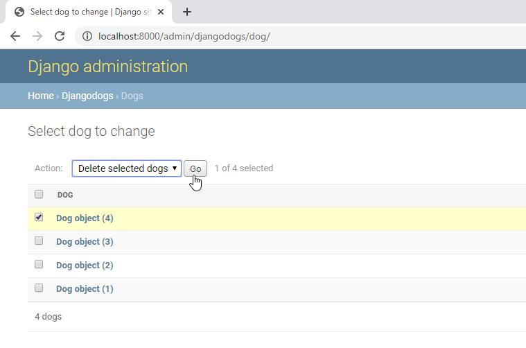 django admin delete database record