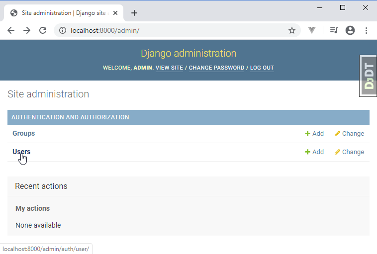 django administration groups users