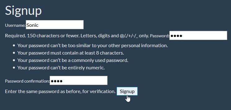 enter info usercreationform django