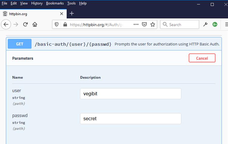 configuración de autenticación básica de httpbin