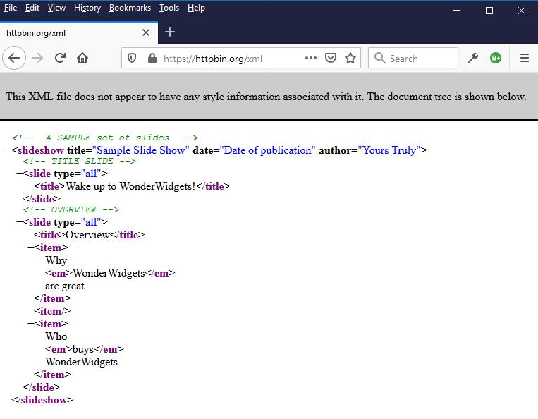 httpbin xml testing service