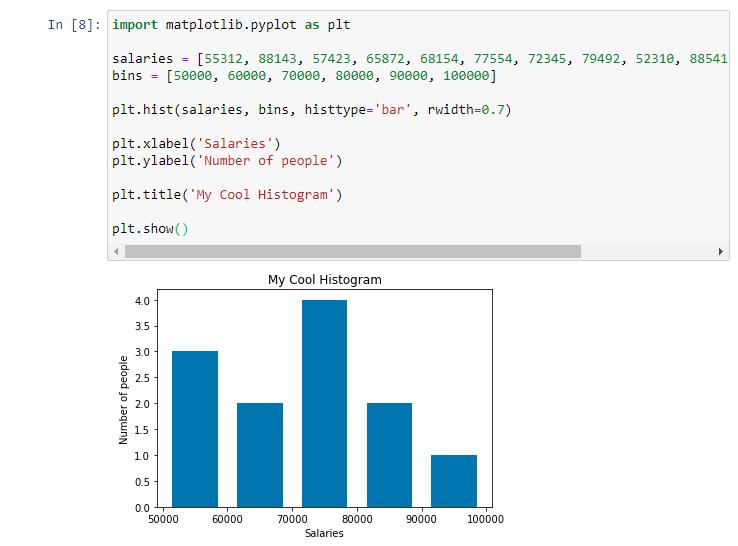 matplotlib histogram bins