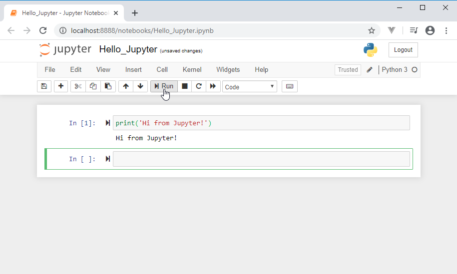 run python code in Jupyter notebook