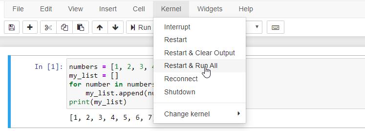 jupyter kernel restart and run all