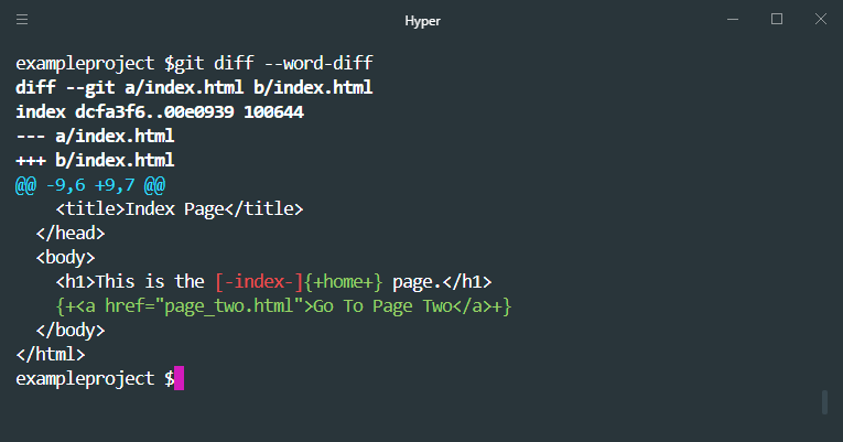 git diff word diff example
