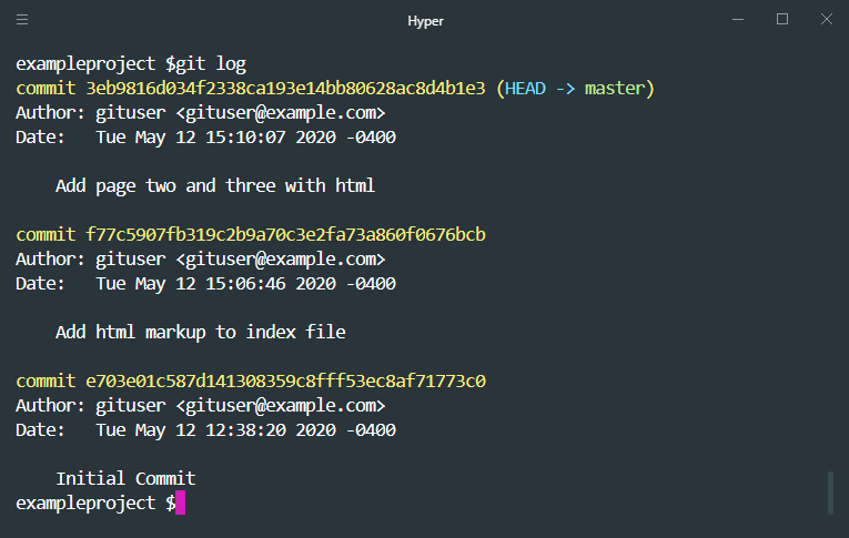 git log to view commits