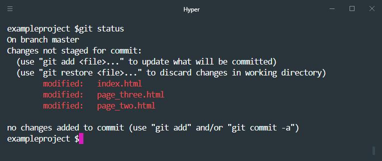 git status three files changed
