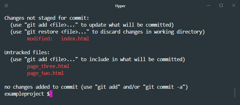 git status untracked vs not staged for commit