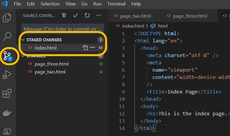 view staged changes vs code
