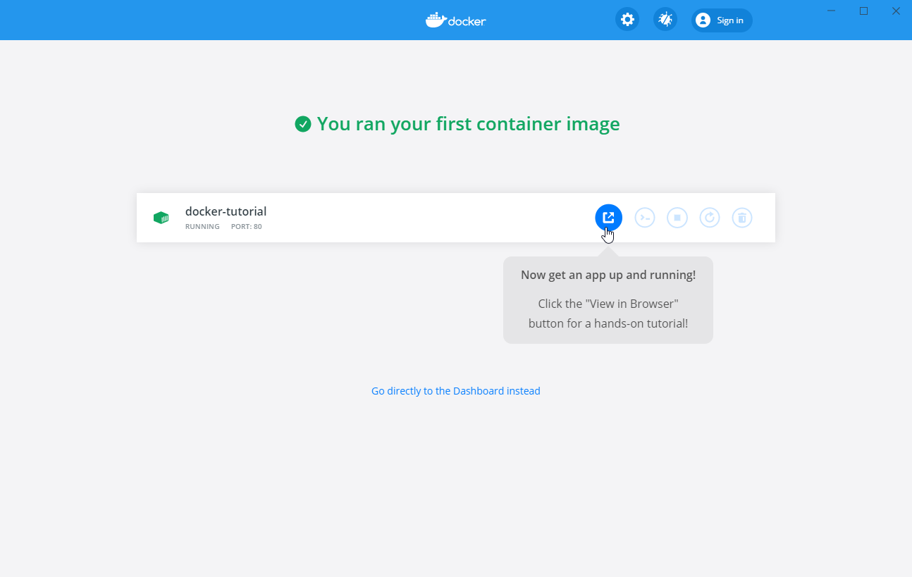 5 docker container image now running