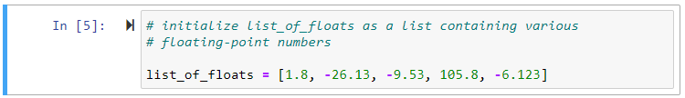 list of floating point numbers