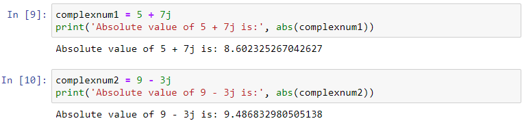 python abs complex numbers