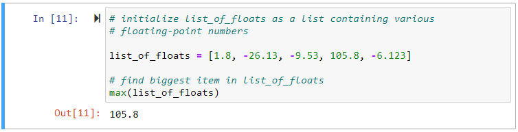 python max() floats